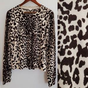 J. Crew   XL leopard print soft wool cardigan